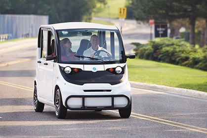 GEM electric cars have street legal features, such as 3-point safety belts and all forward facing seats.