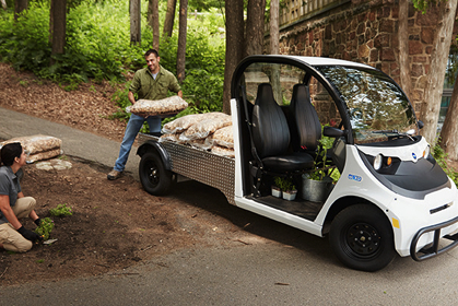 GEM electric cars and carts are ideal for landscaping chores.
